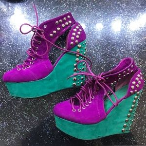 YOKI Delia Studded Galactic Wedge Lace Up Booties